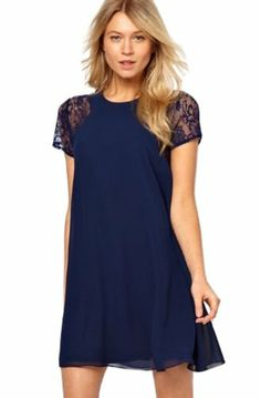 Sheinside Women's Contrast Lace Short Sleeve Split Chiffon Dress (M, Blue) Sheinside,http://www.amazon.com/dp/B00JETOIWO/ref=cm_sw_r_pi_dp_fEsGtb0SCZV0XGCS