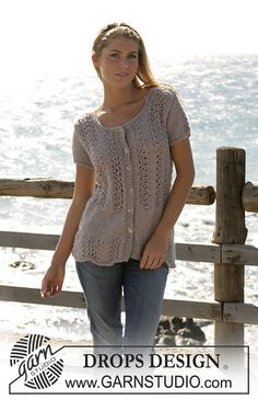 Ravelry: 100-14 Cardigan with lace pattern by DROPS design