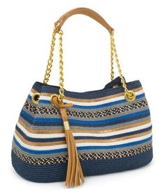 Take a look at this Blue & Goldtone Medley-Stripe Shoulder Bag on zulily today!
