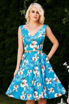 Rochie StarShinerS albastra de ocazie eleganta in clos cu imprimeu floral si decolteu adanc Interior, Floral, Casual, Shopping, Dresses, Fashion, Rhinestones, Florals, Gowns