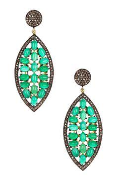 Diamond Halo Green Chalcedony Drop Earrings - 1.70 ctw