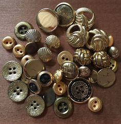 Vintage Lot of 35 Buttons Gold Tone Sea Shells Textured Detailed Smooth Metallic  | eBay