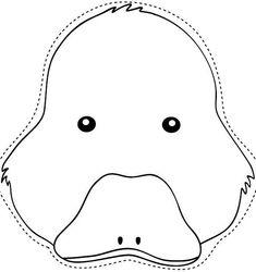Dibujo recortable Máscara de patito, colorear y recortar