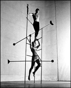 Eric Hawkins in 'Stephen Acrobat' photographed by Philippe Halsman. Set Design by Isamu Noguchi. 1946.