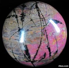 Pink & Black Rhodonite Crystal Ball