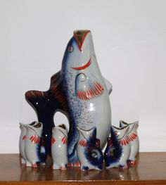 Soviet Blue Fish Drinking Set Vintage porcelain decanter in a shape of FISH and…