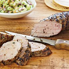 Grilled Pork Tenderloin with Green Apple-Cucumber Salsa    The tenderloin needs to chill, covered in the spice rub, for at least eight hours, but only needs about 20 minutes on the grill, making this a great option for a Spring dinner party.