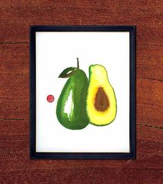 Original watercolor painting. OOAK, Avocado (V13), 8x10, Green, Vegetable Art, Food Art, Minimalist style, Gift for vegetarian via Etsy