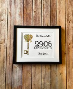 Antique Key Home Address Art with Established by BloomingDoorDecor