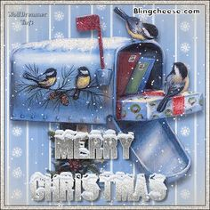 Merry Christmas mailbox and birds Merry Christmas Pictures, Christmas Mail, Merry Christmas And Happy New Year, Father Christmas, Christmas Greetings, All Things Christmas, Christmas Cards, Xmas, New Year Gif