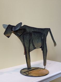 Abstract Scrap Metal Sculpture Cow by Bungalow214 on Etsy