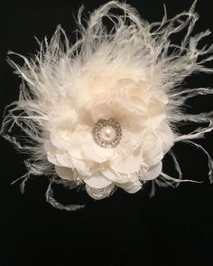 Ivory Chiffon Lace Flower Feather Fascinator Hair Clip. Flower Girl,Bridal Flower Clips,Dance Costume, Fancy Girl Custom Hair Clip by FancyGirlBoutiqueNYC on Etsy
