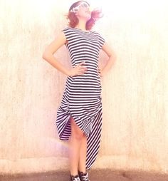 Navy Striped Asymmetric Dress / Loose Dress / by Teyxo on Etsy