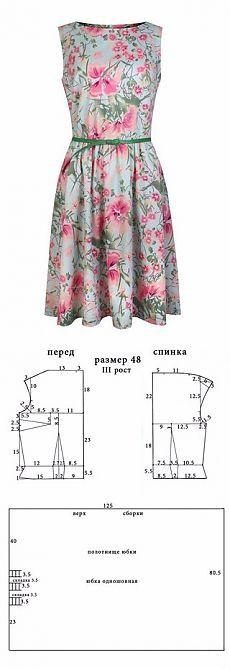 Vestido con estampado floral. Patrón ..