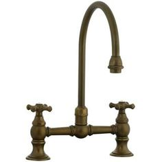 Check out the Cifial 267.270.V05 Highlands Double Cross Handle Bridge Kitchen Faucet in Aged Brass priced at $345.95 at Homeclick.com.