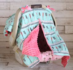 Mint Coral Arrow with Neon Pink Minky Car Seat Canopy | Sparkle in Pink