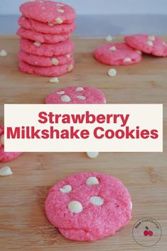 These Strawberry Milkshake Cookies do not require cake mix. They are made with strawberry Jell-o powder and white chocolate chips. And they taste just like a strawberry milkshake, but in the form of a cookie! They make a great lunch box dessert or snack and are the perfect pink cookie for Valentine's Day. Peanut Cookies, Pink Cookies, Dark Chocolate Recipes, White Chocolate Chips, Healthy Cookie Recipes, Baking Recipes, Bake Sale Cookies, Bake Sale Packaging, Mini Cherry Cheesecakes