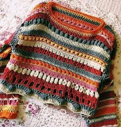 Pull Crochet, Crochet Jumper, Mode Crochet, Knit Crochet, Crochet Blouse, Crochet Baby, Hippie Pullover, Crochet Clothes, Diy Clothes