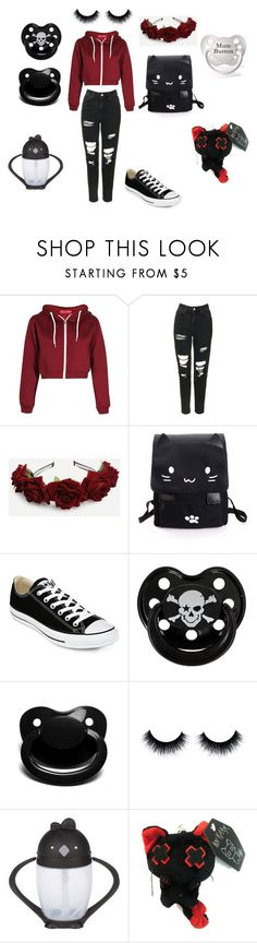 """Trying Not be Little, But Fails (dd/lg) (dd/lb) (cgl)"" by littlebabyboy-t ❤ liked on Polyvore featuring Boohoo, Topshop, Converse, Rock Star Baby and lollacup"