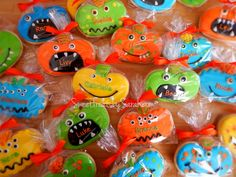 Personalized Monster Pumpkin Cookies  Perfect for school Halloween party!