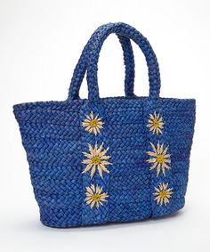 Blue Flower Woven Tote by Straw Studios #zulily #zulilyfinds