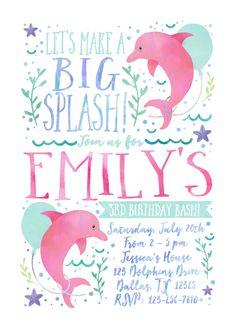 Dolphin Birthday Invitation | Ocean Birthday Invitation | Under The Sea Invitation | Pool Party Birthday Invitation | DIGITAL FILE ONLY  Your