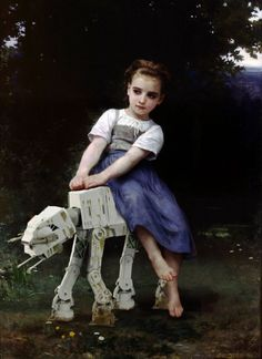 "Traditional French painter, William-Adolphe Bouguereau's playful painting, ""La Bourrique"" gets an unexpected Star Wars twist."