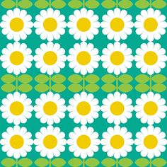 daisy turquoise fabric by aliceapple on Spoonflower - custom fabric Cool Patterns, Beautiful Patterns, Vintage Patterns, Vintage Prints, Textures Patterns, Print Patterns, Graphic Patterns, Pattern Art, Pattern Design