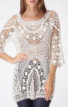Ivory Cascade Open-Crochet Sweater