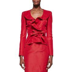 Oscar de la Renta Bow-Front Cocktail Blazer ($586) ❤ liked on Polyvore featuring outerwear, jackets, blazers, crimson, red jacket, flap jacket, silk evening jacket, lined jacket and red blazer jacket