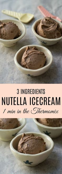 This Thermomix Nutella Ice Cream is made from only 3 ingredients - frozen banana, Nutella and vanilla extract and takes just a minute to make in the Thermomix.