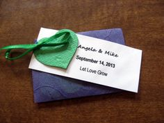 Wedding Favor with Plantable Heart Shaped Confetti Pieces and Personalized Tags in Handmade Envelopes