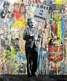 Available for sale from Denis Bloch Fine Art, Mr. Brainwash, Einstein - Love Is The Answer Mixed Media on Paper with Stencil, Spray Paint, Acrylic… Mr Brainwash, Einstein, Urban Graffiti, Art Basel Miami, Amazing Street Art, Urban Art, Les Oeuvres, Original Artwork, Contemporary Art