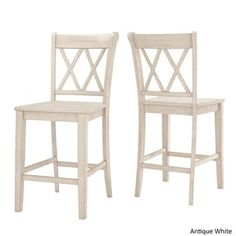 Eleanor X Back Wood 24 in. Counter Chair (Set of 2) by iNSPIRE Q Classic