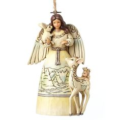 4051540 White Woodland Angel (Hanging ornament)- This elegant wintry angel with his woodland friends evokes the wonder of nature in a subtle palette of muted tones and icy blues #Ornament #JimShore #Christmas