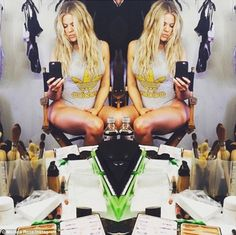 Twice as nice: Khloe Kardashian showed off her enviable - and hard worked for - physique as she prepped for a photo shoot on Wednesday