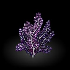 Michelle Ong. Paradiso Brooch. Purple Pink Sapphire and White Diamond brooch set in 18K White Gold and Titanium