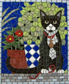 Cats in Art, Photography, Illustration and Design: Mosaic #CatArt