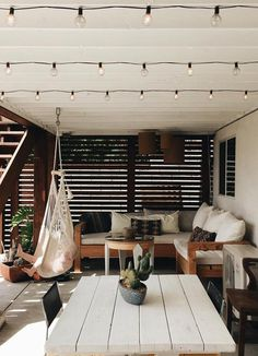 outdoor living spaces, covered patio with sectional seating and dining space Patio Interior, Interior Design, Outdoor Rooms, Outdoor Living, Outdoor Life, Indoor Outdoor, Sweet Home, Outside Living, Deco Design