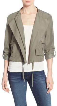 Nordstrom - Halogen ® Soft Collarless Jacket (Regular & Petite), women, fashion, style, clothing, clothes