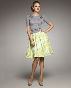 Love the sweater with the full skirt!