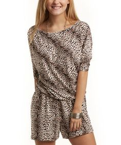 Take a look at this Brown & White Leopard Bray Romper on zulily today!