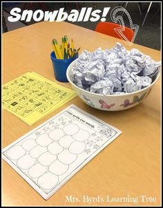 Mrs. Byrd's Learning Tree: Snow Much Fun! ~ Do you use paper snowballs in your classroom?  This post has lots of ideas for winter learning fun in the kindergarten classroom and a FREEBIE too!