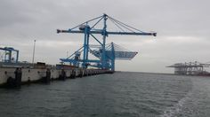 New Rotterdam container terminal, built into the Northsea. This is mega huge, made for the coming supervessels