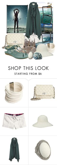 """Beachy. For Nada t55."" by anicaaa ❤ liked on Polyvore featuring Accessories & Beyond, Dorothy Perkins, Aerie, Nine West, Elizabeth and James, Forever 21, flat sandals, summer, hat and blouse"