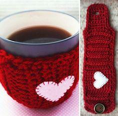 CROCHET - MUG COZY - <3 HEART