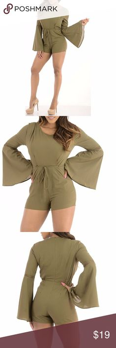Sexy Cute Casual olive green Romper With Pockets and fully lined. Model 5'7 is wearing a small & the exact same style. Close up shows fabric quality-Color dif is lighting. Brand new with tag! NWT Small=size 2,3,4  Medium= size 5,6,7  Large= size 8,9,10  Fabric designed w/stretch-Fit similar to styles @ Hello Molly, ASOS, Showpo ,Hot Miami Styles, Sabo Skirt , NBD, Lulus ,Tobi, Touch Dolls, Fashion Nova, Forever 21, Nasty Gal d704  Visit my closet for more Styles! Sweet Sexy Styles Pants…