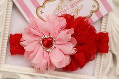 Red n Pink Baby Headband-Valentines Baby Headband.Headband.Baby headband.Baby Girl.Valentines Day.Shabby  Valentine.Newborn, Toddler, Infant on Etsy, $10.95