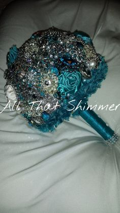 Wedding Brooch Bouquet  Brides Teal with Orange by AllthatShimmer
