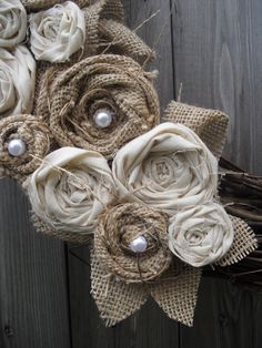 Burlap Wreath with Muslin & Pearls- like the burlap flowers